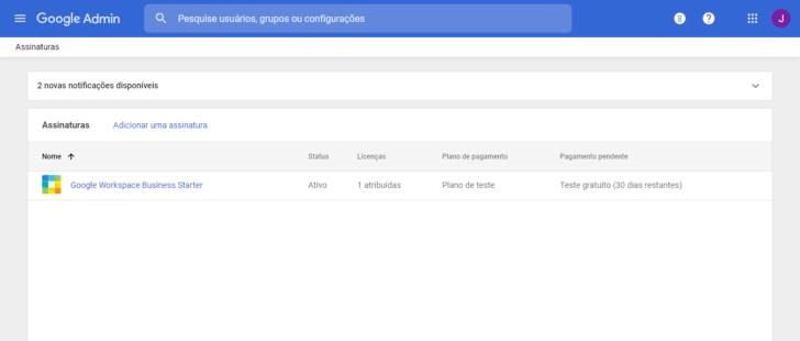 Área de faturamento do Google Workspace