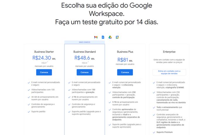 Página promocional do Google Workspace, com os planos disponíveis