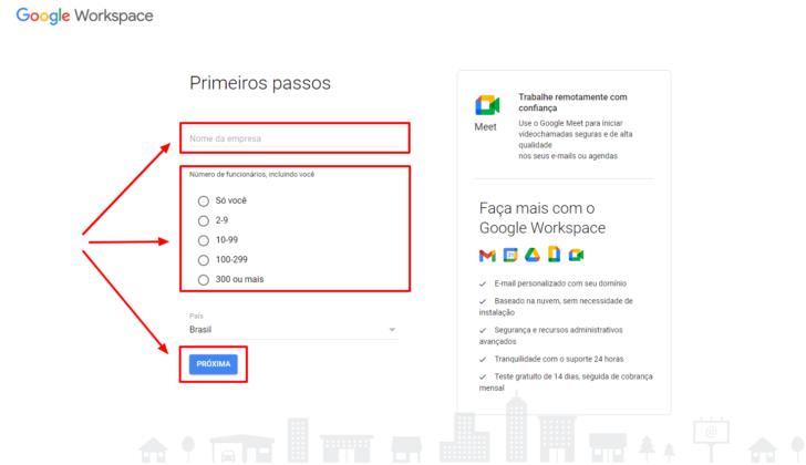 Primeiro passo do formulário de cadastro do Google Workspace