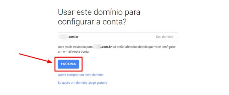 Tela para confirmação do e-mail de administração do G Suite / Google Workspace