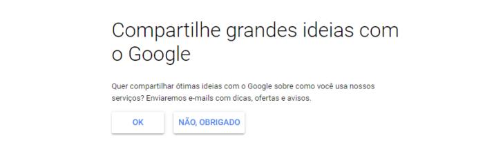 Passo para optar por compartilhar informações de uso com a equipe do Google e receber comunicados da empresa