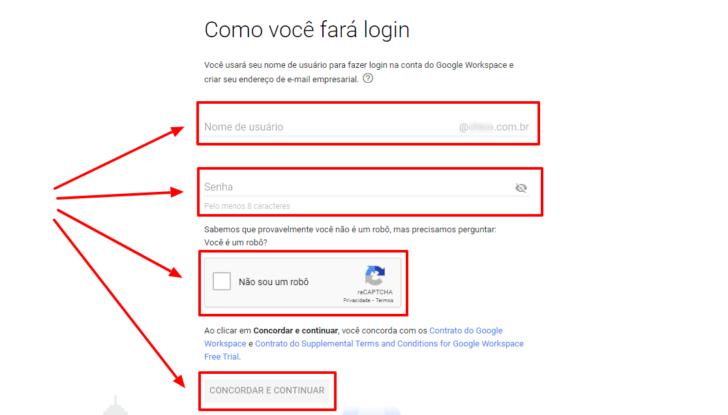 Tela de criação do usuário de administração do Google Workspace / G Suite