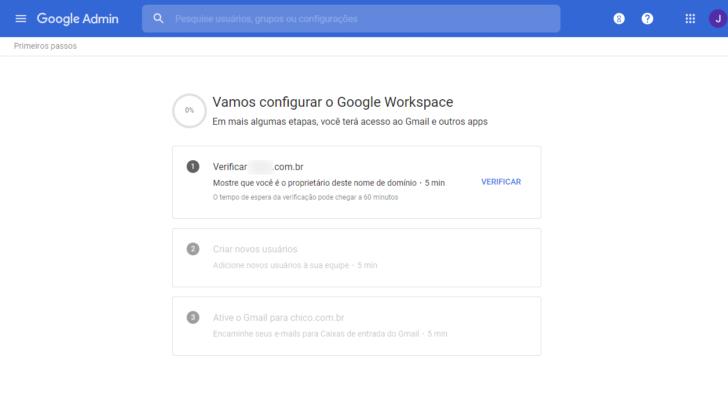 Assistente de configuração com os três passos iniciais de configuração do Google Workspace (antigo G Suite)