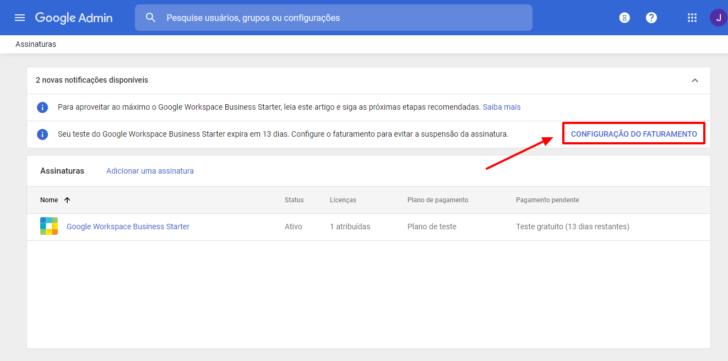 Link para as configurações de faturamento do Google Workspace