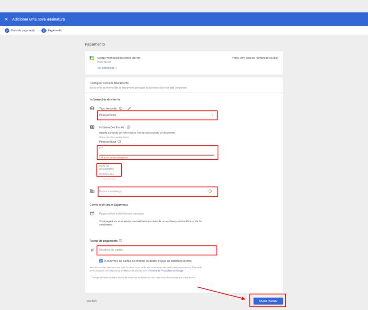 Visão geral da página de configuração de pagamentos no Google Workspace