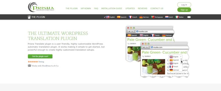Página inicial do site Prisna, que desenvolve o plugin de tradução Google Website Translator
