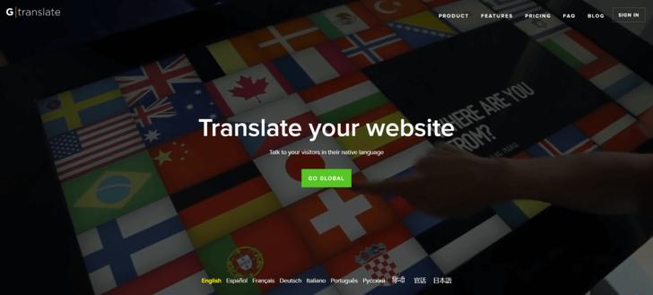 Página inicial do site GTranslate, um dos melhores plugins de tradução automática para WordPress