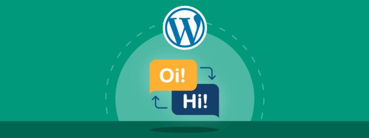 Ilustração com o símbolo do WordPress sobre balões de fala para representar os melhores plugins de tradução para WordPress.