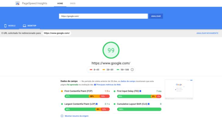 Exemplo de resultado de pesquisa no PageSpeed Insights