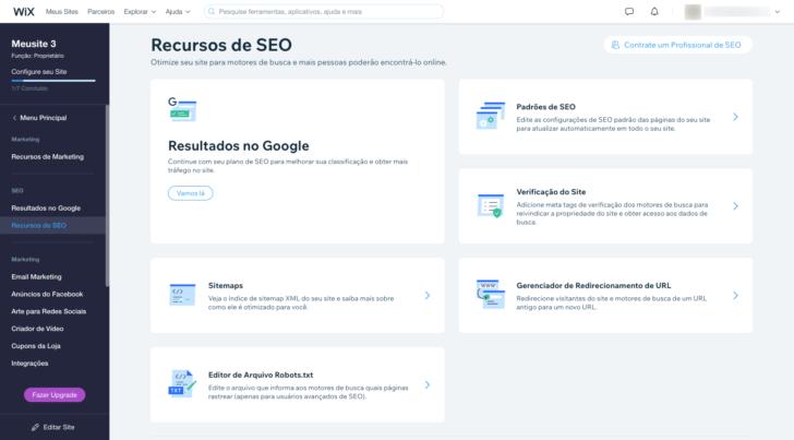 O criador de sites Wix é uma das ferramentas que conta com recursos de SEO