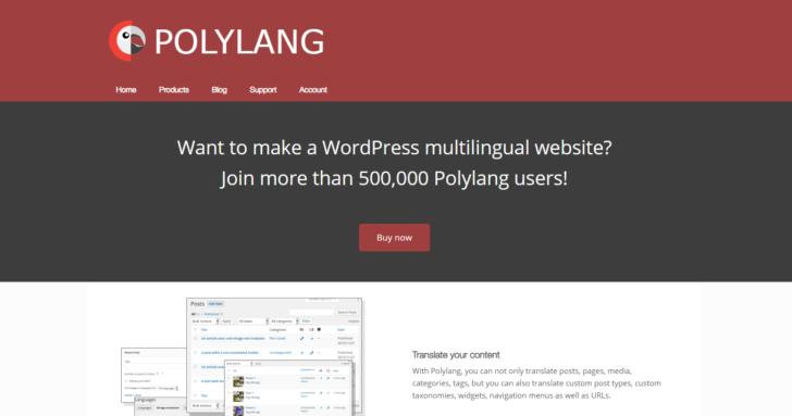 Página inicial do site Polylang