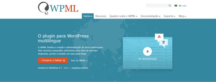 Página inicial do site WPML, um dos melhores plugins para tradução do WordPress em robustez.