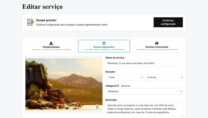 O recurso de compromisso online permite criar e vender eventos