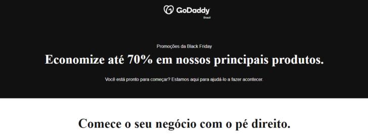 Black Friday de hospedagem e afins GoDaddy: até 70% de desconto