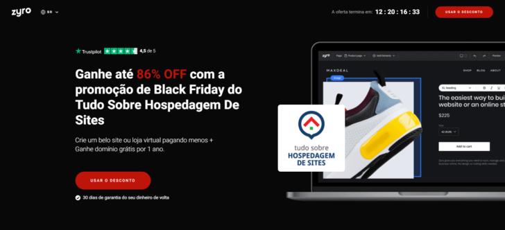 Na Black Friday 2020, o criador de sites Zyro está oferecendo 86% de desconto em parceria com o TSHS
