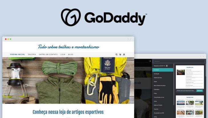 Tela exibindo um dos templates do criador de sites da GoDaddy, com o tema montanhismo