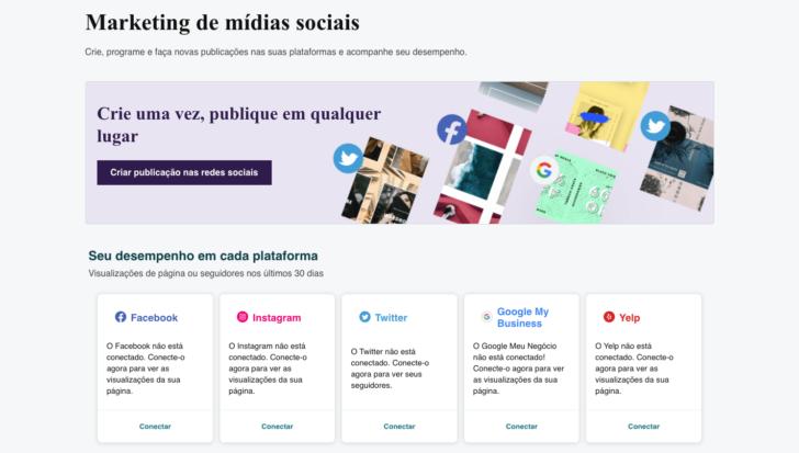 Crie, programe e publique nas redes sociais com o criador de sites da GoDaddy