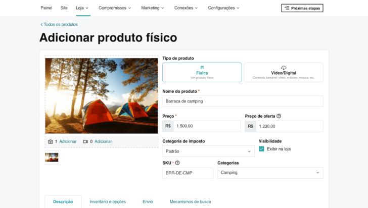 Tela de inserção de produtos na loja virtual da GoDaddy