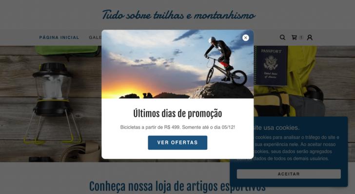 O pop-up permite adicionar uma mensagem para todos os visitantes que acessam o site