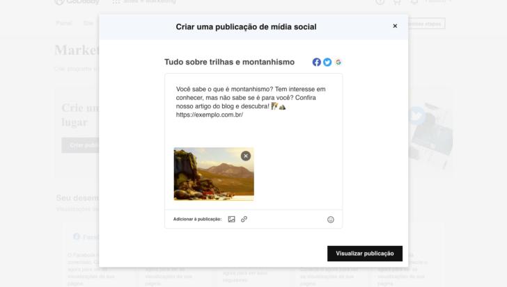 O criador de sites da GoDaddy permite publicar diretamente nas mídias sociais