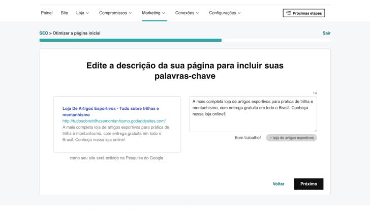 Uma etapa da otimização é criar o título e a descrição da página para os mecanismos de pesquisa