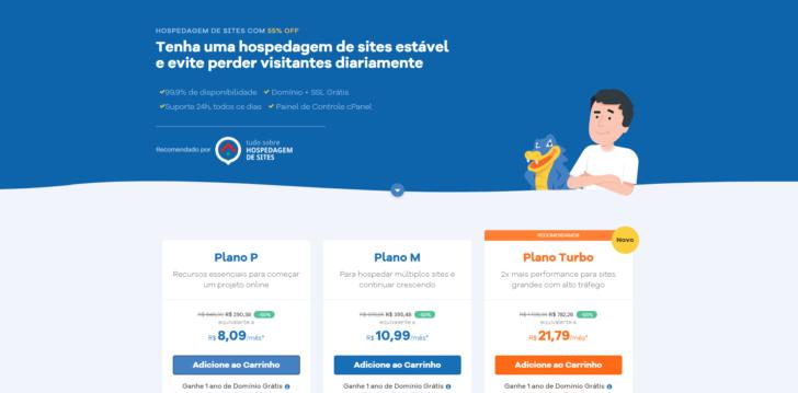 Exemplo de página promocional no site da HostGator