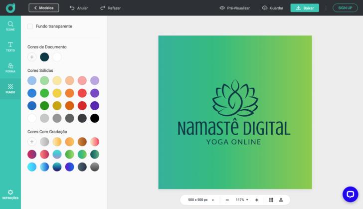 Plataforma de criação de logos da Design Evo