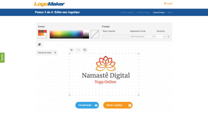 Tela de edição do Logo Maker
