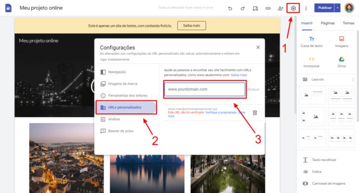Localização da área de URLs personalizados no menu de configuração do Google Sites