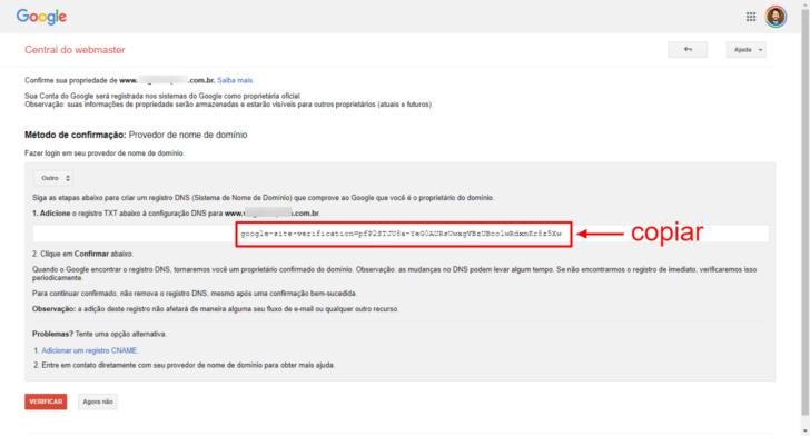 Código fornecido para verificação do domínio junto à empresa de registro