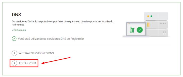 Link para edição da zona de DNS no painel do Registro.br