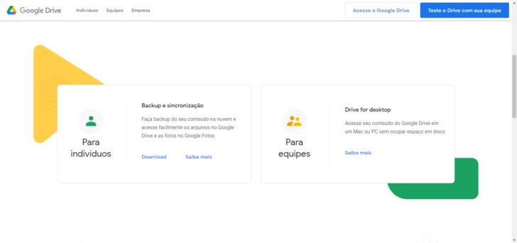 Página de download do Drive for Desktop e do Backup e sincronização