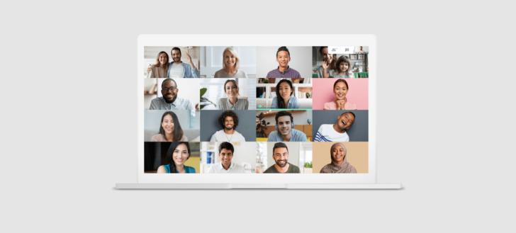 Tela do programa de videoconferências Google Meet, presente no Google Workspace