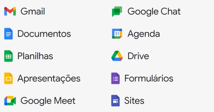 Principais programas encontrados no Google Workspace