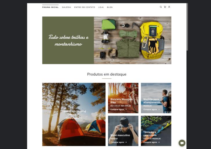 Exemplo de página inicial com produtos em destaque