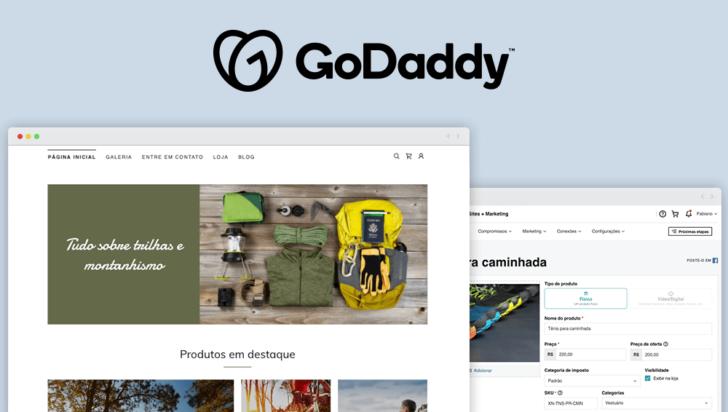 Montagem com telas da loja virtual da GoDaddy