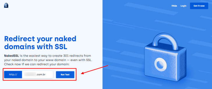 Página inicial do serviço Naked SSL, com a caixa para inserção do domínio em destaque