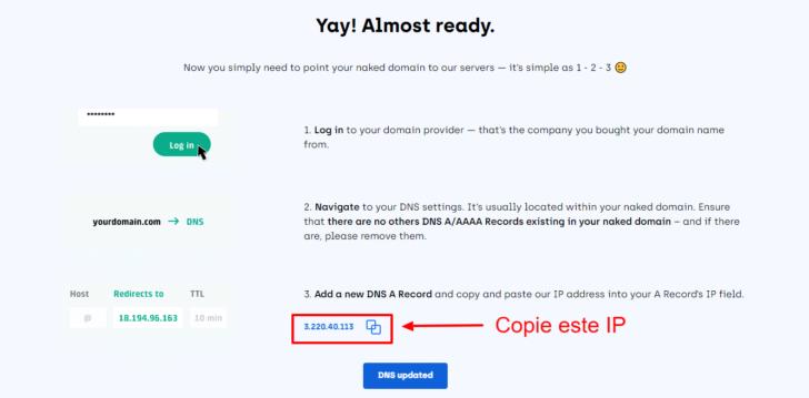 Tela com as instruções e com o endereço de IP para onde a versão nua do domínio deve ser apontada