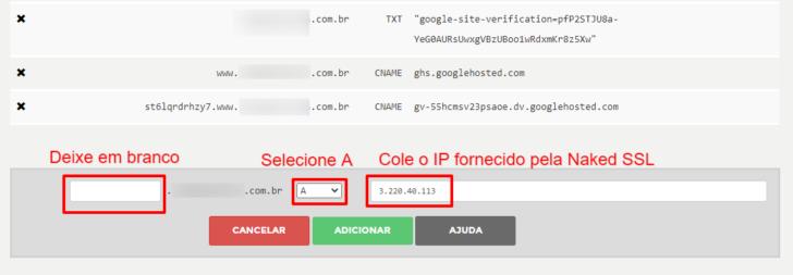 Inserção da entrada do tipo A para configuração do redirecionamento fornecido pela Naked SSL
