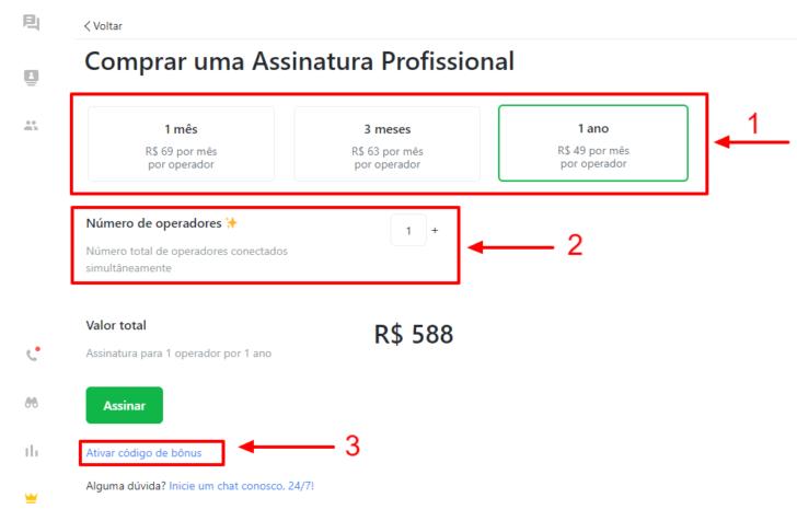 Página com as opções de ciclo de pagamento e número de operadores, no painel JivoChat