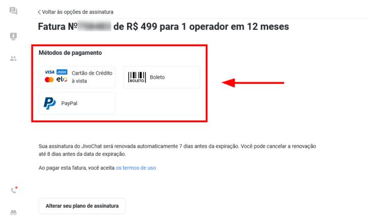Passo para escolha da forma de pagamento, no painel do JivoChat