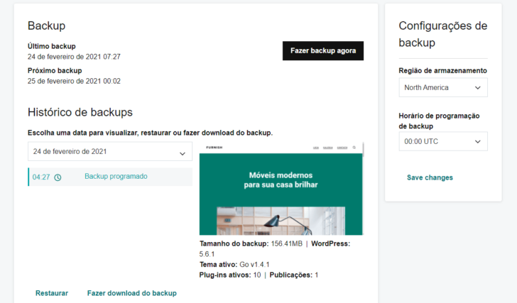 O backup é automático e diário nos planos de hospedagem WordPress da GoDaddy