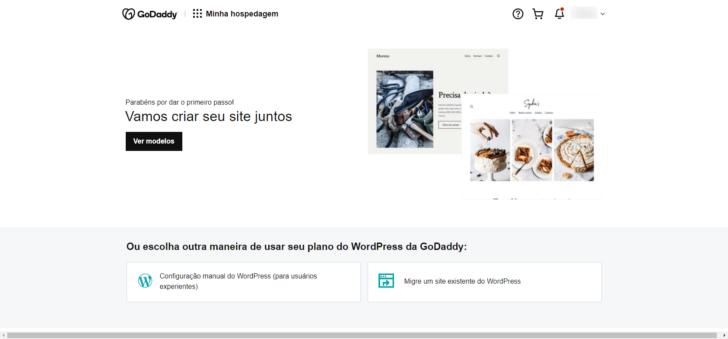 Primeiro passo do assistente de configuração da Hospedagem WordPress GoDaddy