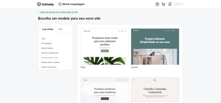 Etapa de escolha de um tema para o site WordPress