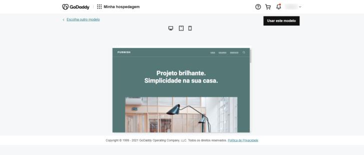Tela de visualização do tema — é possível navegar pelas páginas do site