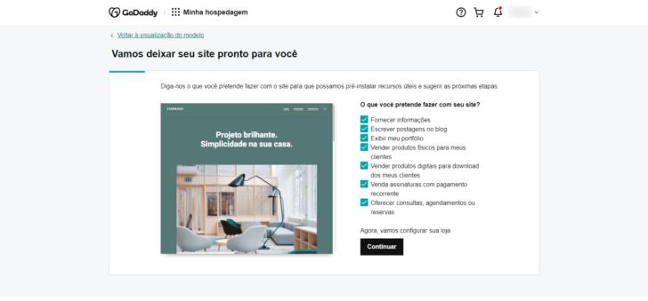 Etapa de configuração onde o usuário deve informar o que pretende vender online