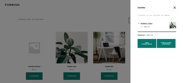 Produtos de exemplos vêm pré-configurados no plano Comércio Eletrônico