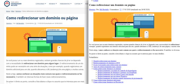 A aparência de uma página pode mudar radicalmente por conta do CSS. Acima, a mesma página com e sem CSS.