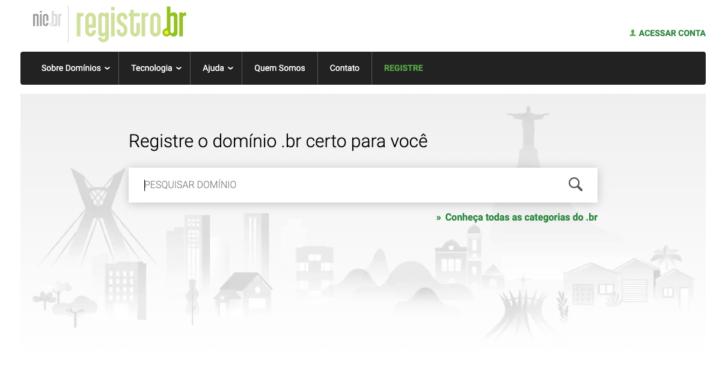Página de pesquisa de domínio no site Registro.br