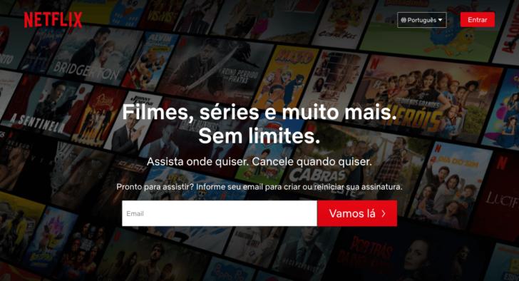 A Netflix utiliza o .com e tem atuação global